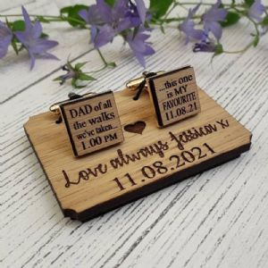 Personalised Dad Of All The Walks Wedding Cufflinks, Wooden Oak Gold Plated Cufflinks